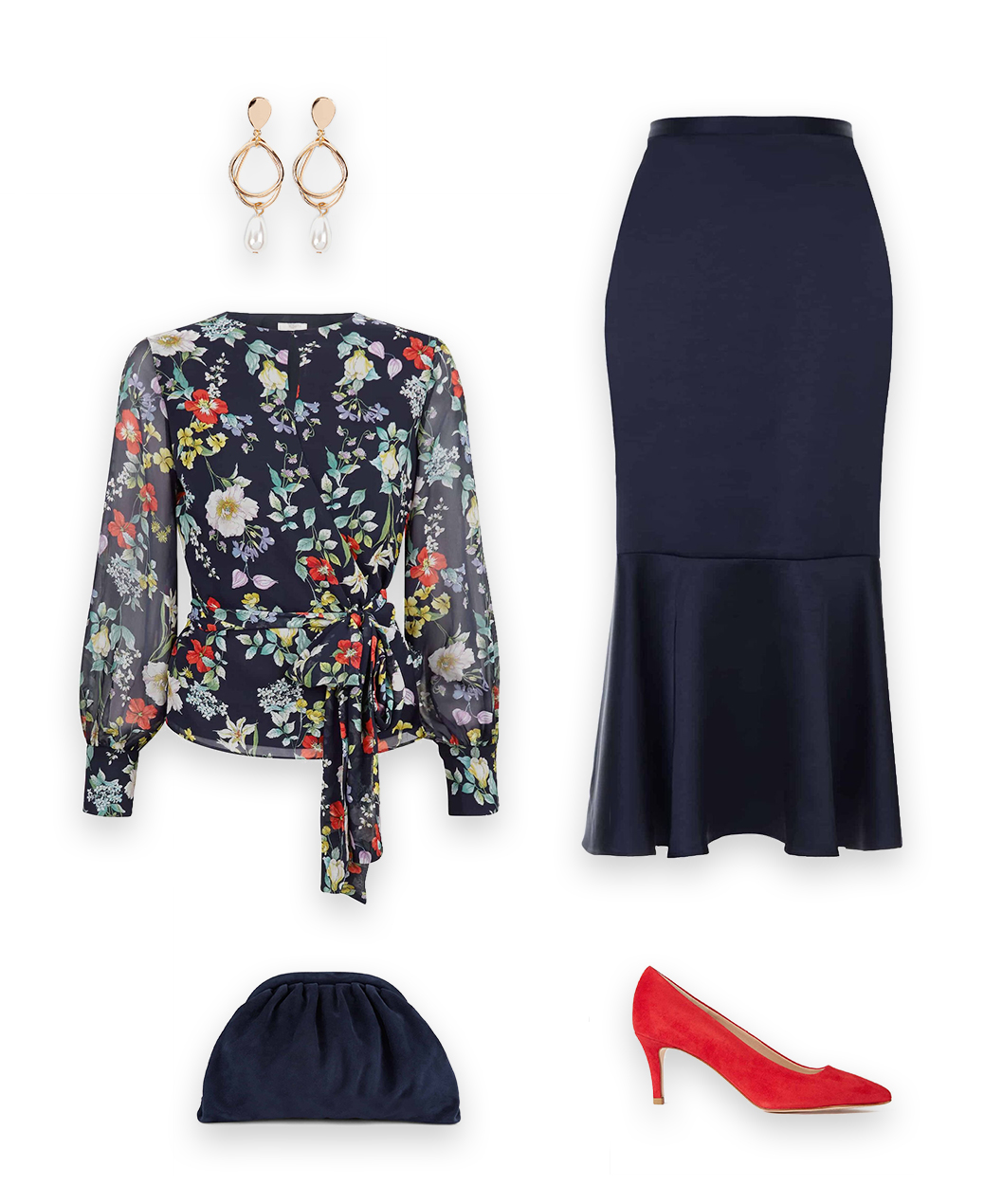 Styled for elegant evening events, the neavy floral meadow blouse with a navy blue satin midi skirt, red suede heeled court, pearl and gold earrings and navy blue clutch bag