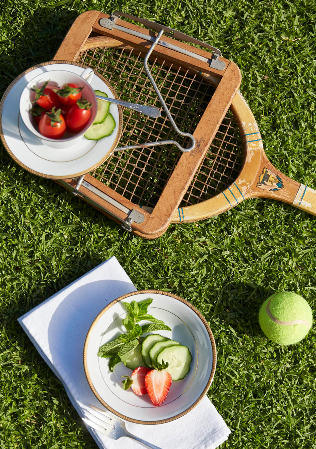 Scattered pastel tennis balls and strawberries lay on the grass