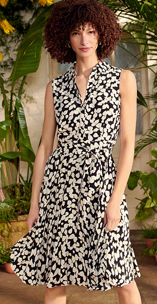 Navy Dress Fit and Flare with White Graphic Floral Print