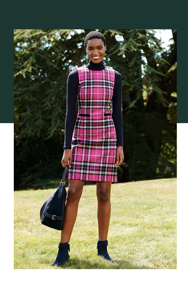 Abraham Moon Pink Wool Checked Dress with Navy Roll Neck Top