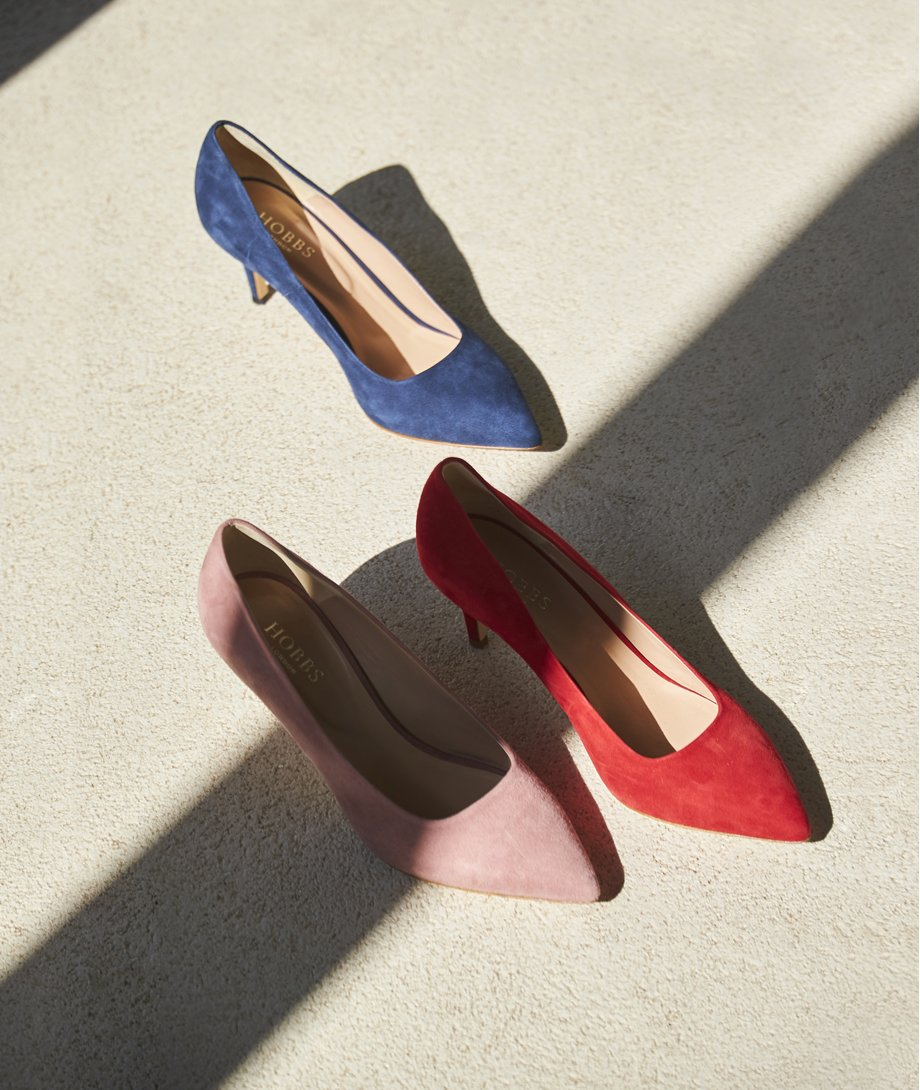 Court shoes in red, pink and navy by Hobbs.
