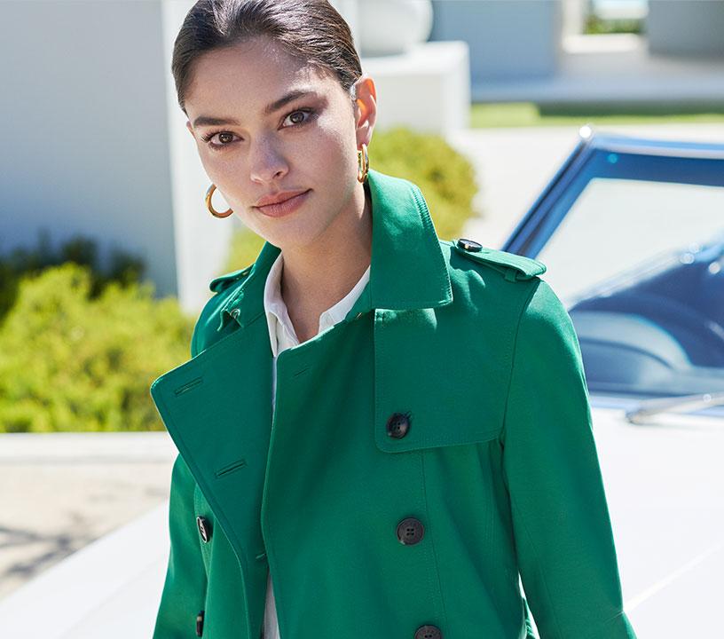 Petite green saskia trench coat