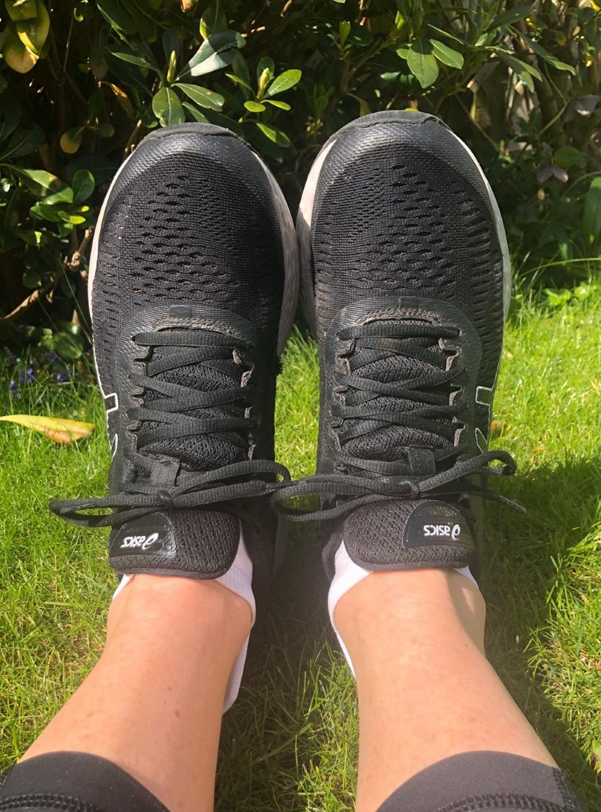 Sally ready in trainers to work out at home