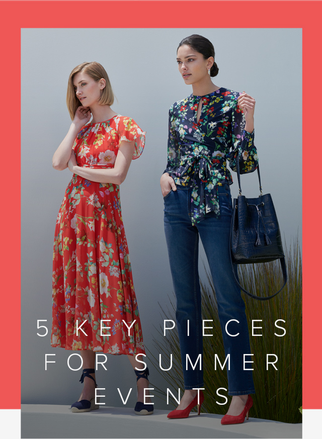 Red floral midi dress with espadrille wedge heels and a floral wrap blouse paired with blue denim jean, red court shoes and a leather bucket bag by Hobbs.