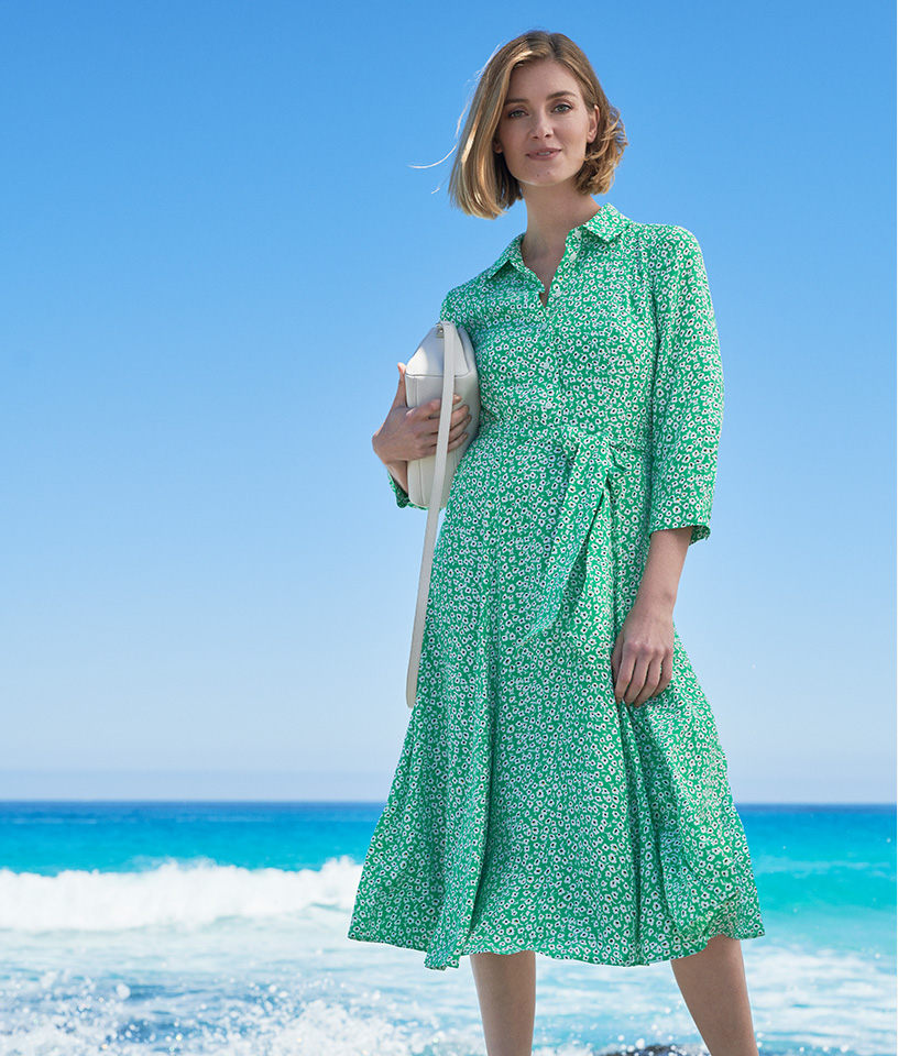 Green Shirt Dress with White Floral print