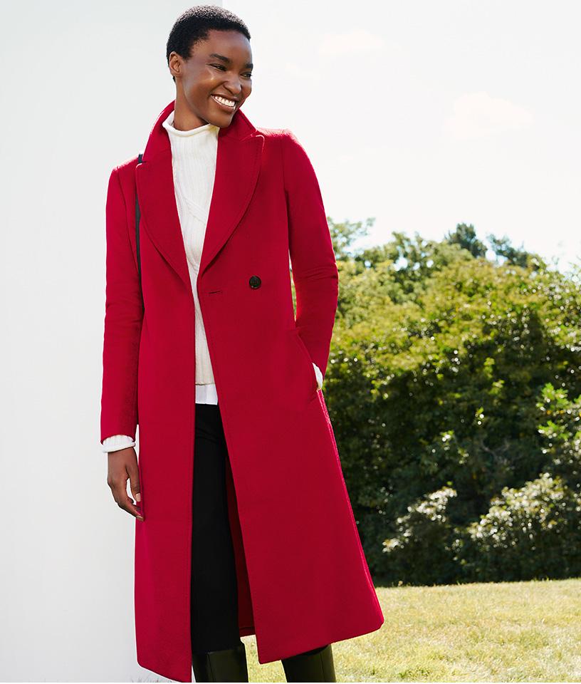 Long Red Wrap Coat