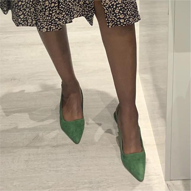 Jess wears the Hobbs kiera green suede kitten heeled slingbacks court shoes