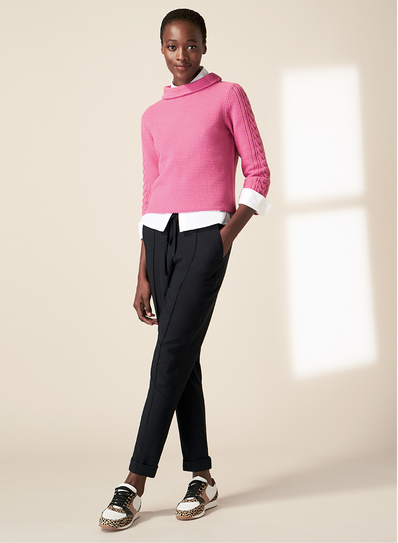 Hobbs Easy Care Pink Jumper on Black Jogger and Leopard Print Trainers