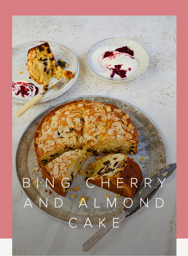 The final product, Prue Leith's Bing cherry and almond cake