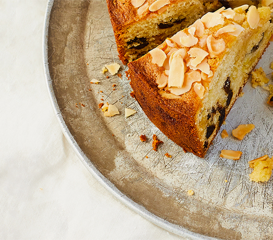 A slice of the bing cherry and almond cake