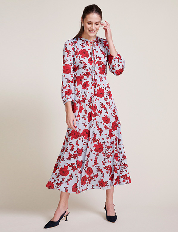 Light Blue Fit And Flare Dress with Red Floral Print
