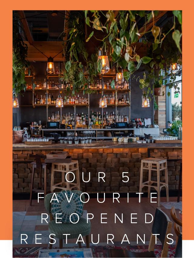 An ecclectically decorated restaurant interior.