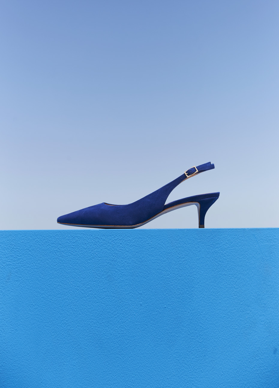Kitten heeled sandals in blue with a slingback feature by Hobbs. Wear with neutral toned occasion dresses and trouser suits.