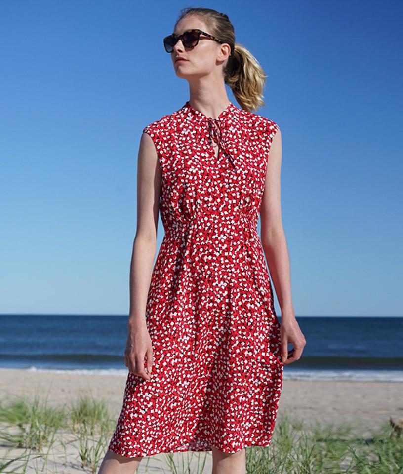 Red Sleeveless Summer Dress on beach