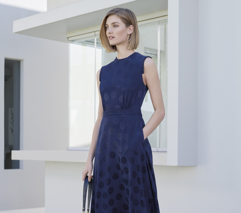 Sleeveless navy fit and flare dress