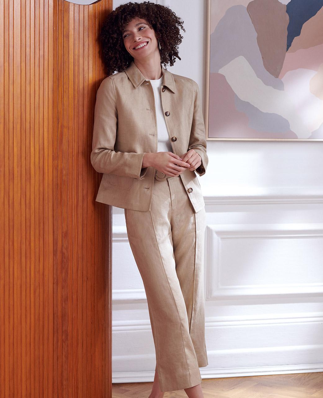Camel Linen Suit