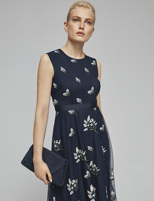 New Petite Floral Dress Navy