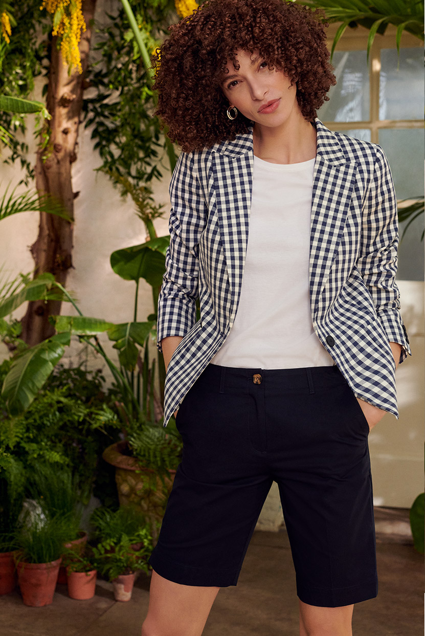 Navy and Ivory Checkd Jacket Outfit over Plain White T-shirt and Navy Tailored Shorts