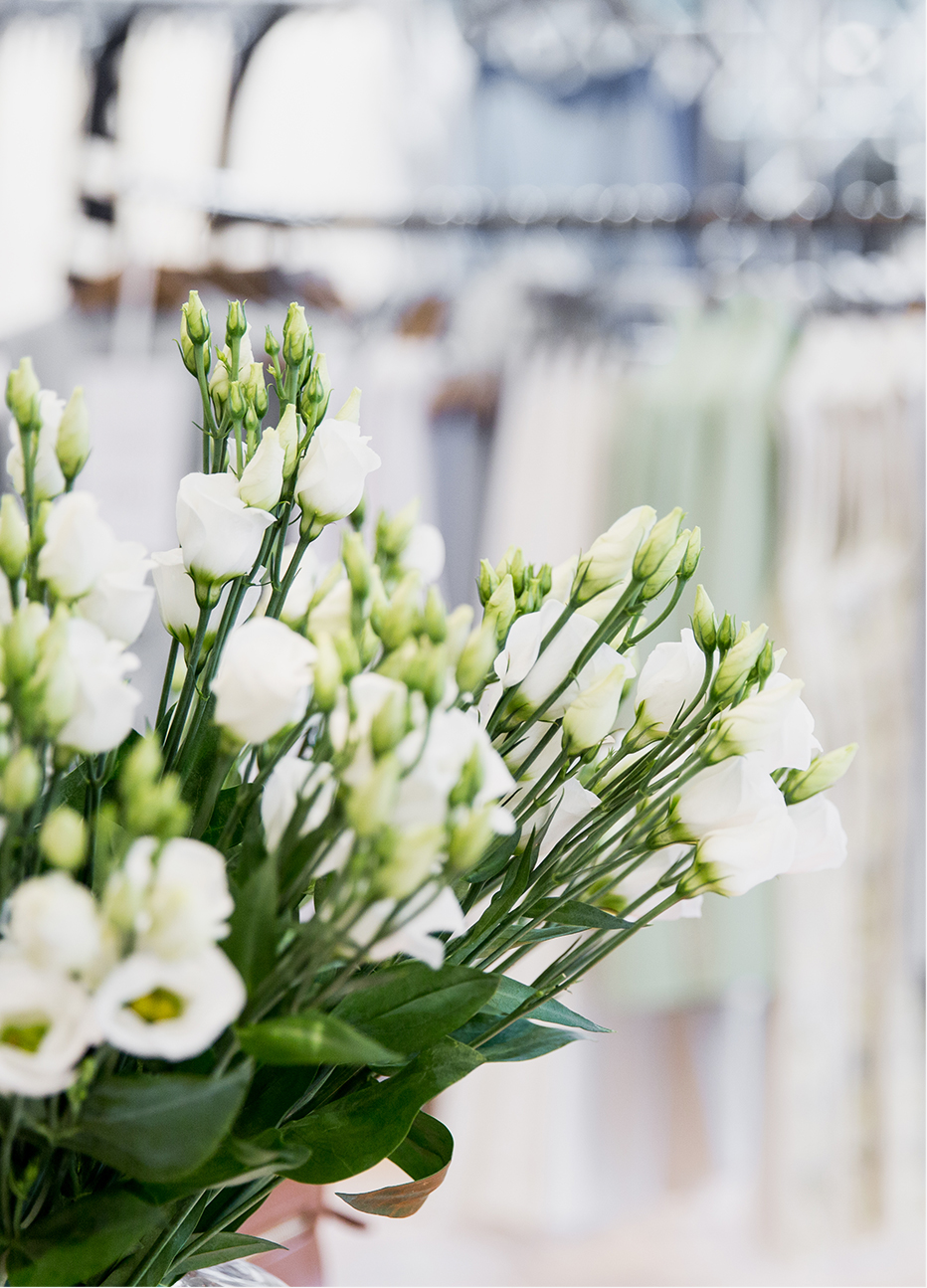 White fresh flowers feature in store.