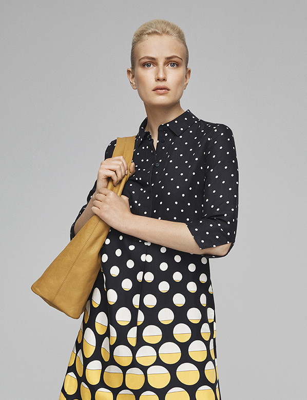Navy Spotted Dress and Bag