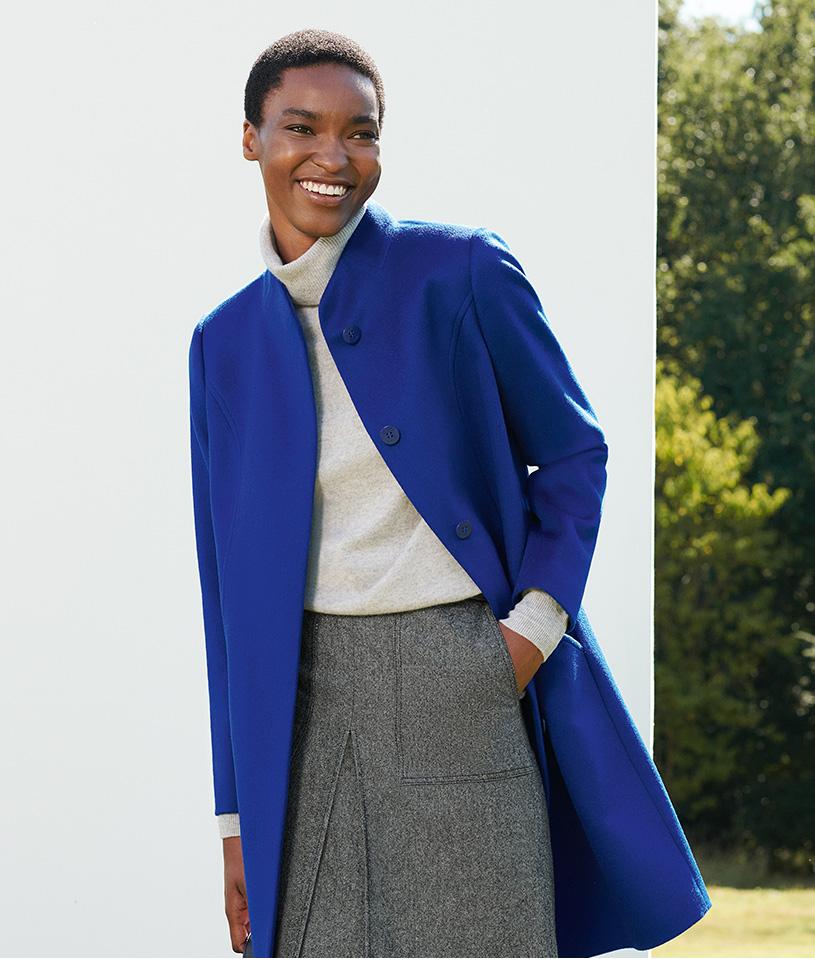 Wool Blue Sale Coat