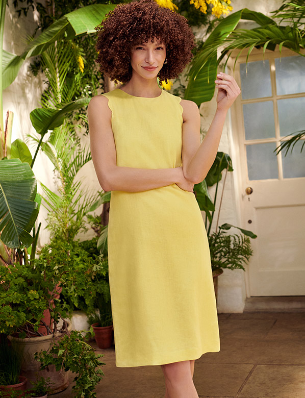 Yellow Linen Shift Dress