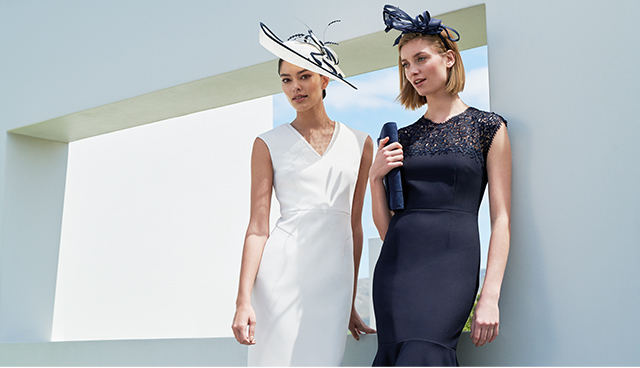 A white midi occasion dress and navy midi occasion dress with matching fascinators by Hobbs for wedding outfits.