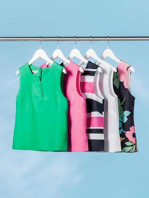 Rack of Colourful Linen Sleeveless Tops