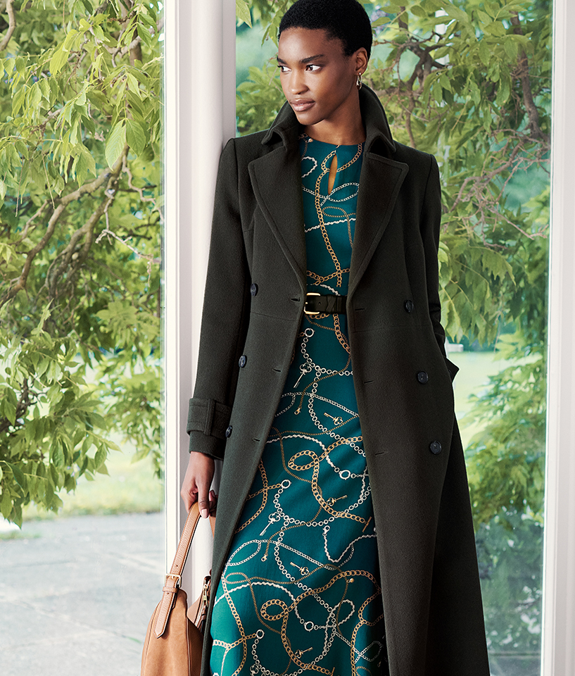Olive Green Long Coat over Green Chain Print Dress