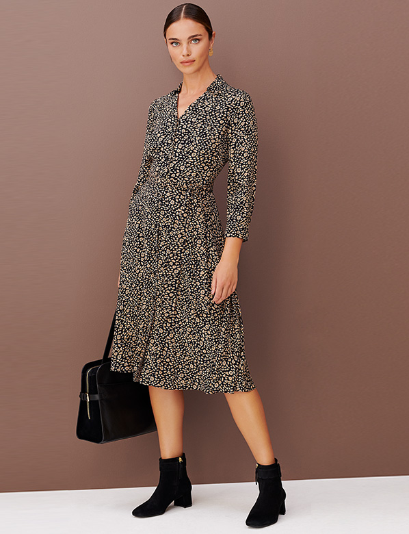 Petite Printed Brown Shirt Dress