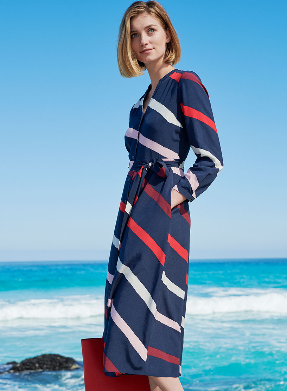 Striped Petite Shirt Dress on Beach