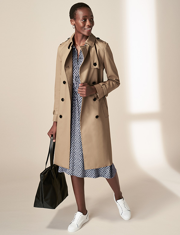 Petite Tan Saskia Trench Coat Outfit