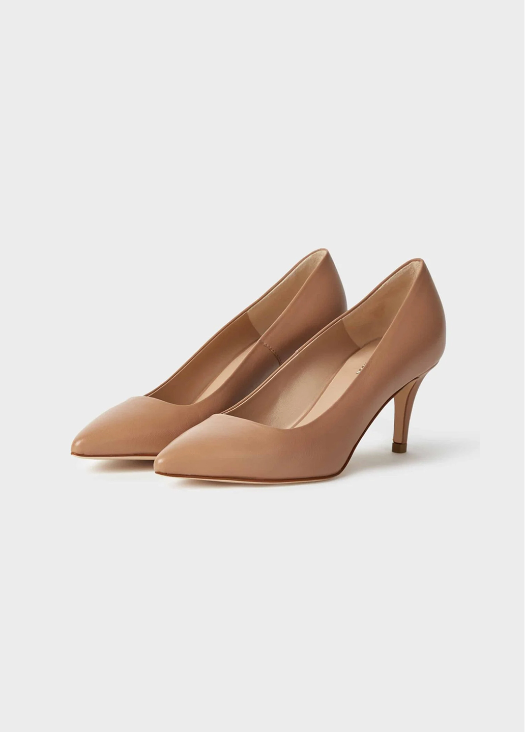 Nude court shoes by Hobbs. Choose mid heels for maximum comfort, a capsule wardrobe staple to pair with dresses and trousers.