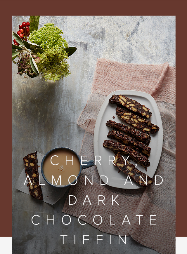 Perfect for autumn, a cherry, almond and dark chocolate tiffin 'fridge cake'.