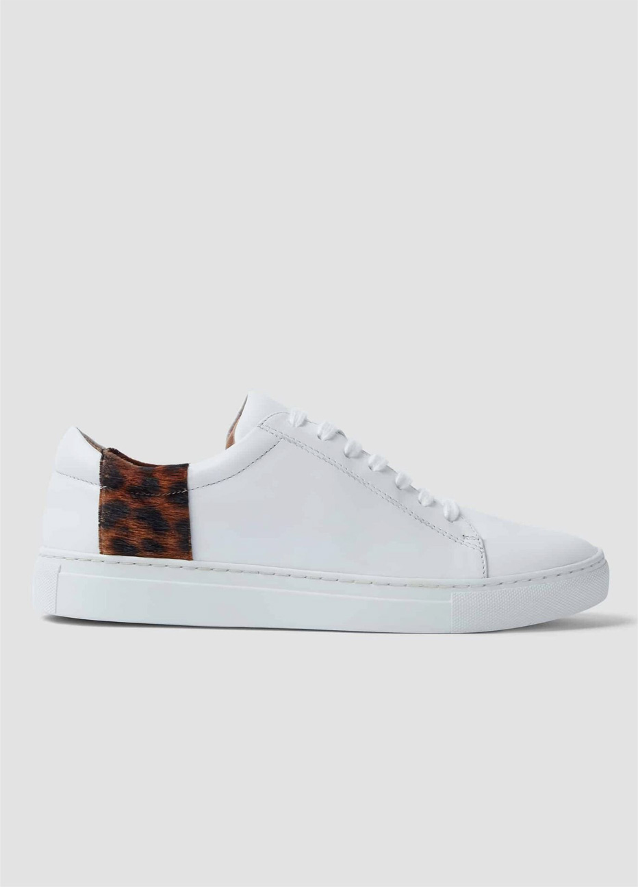 Hobbs women's trainers in white with a leopard print strip design.