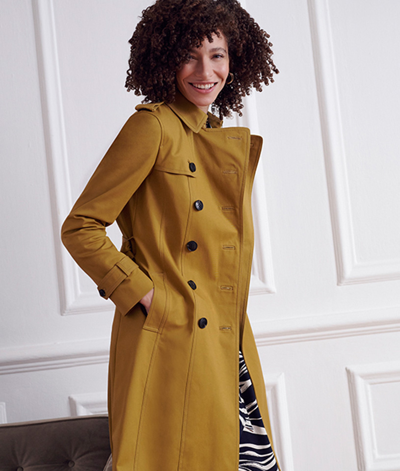 Gold Trench Coat and Striped Dress
