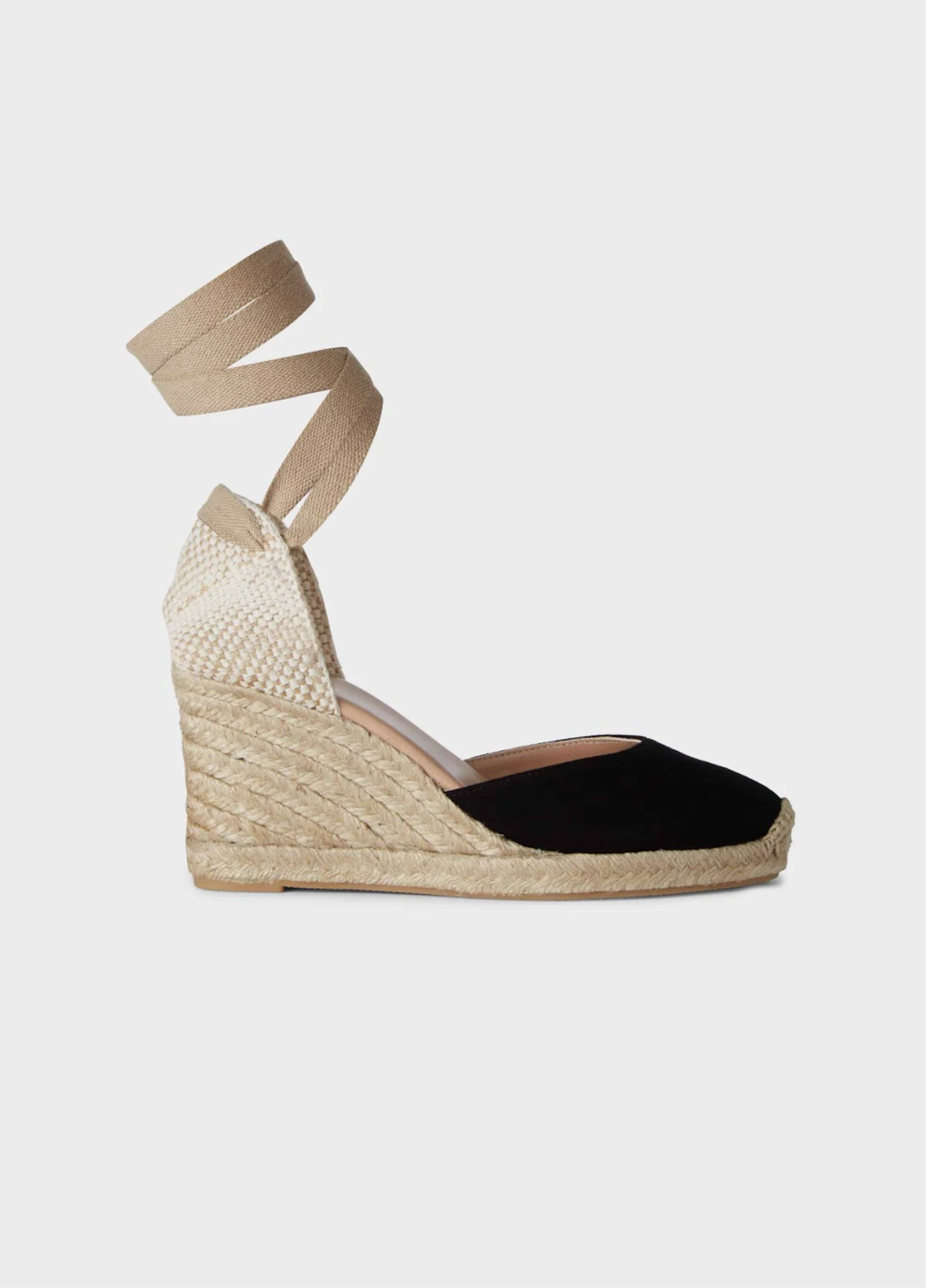 Black espadrille wedge with an ankle wrap design.