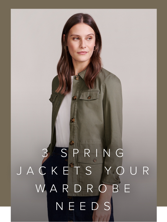 Model wears a khaki field jacket, a white tee and a button-through denim skirt.