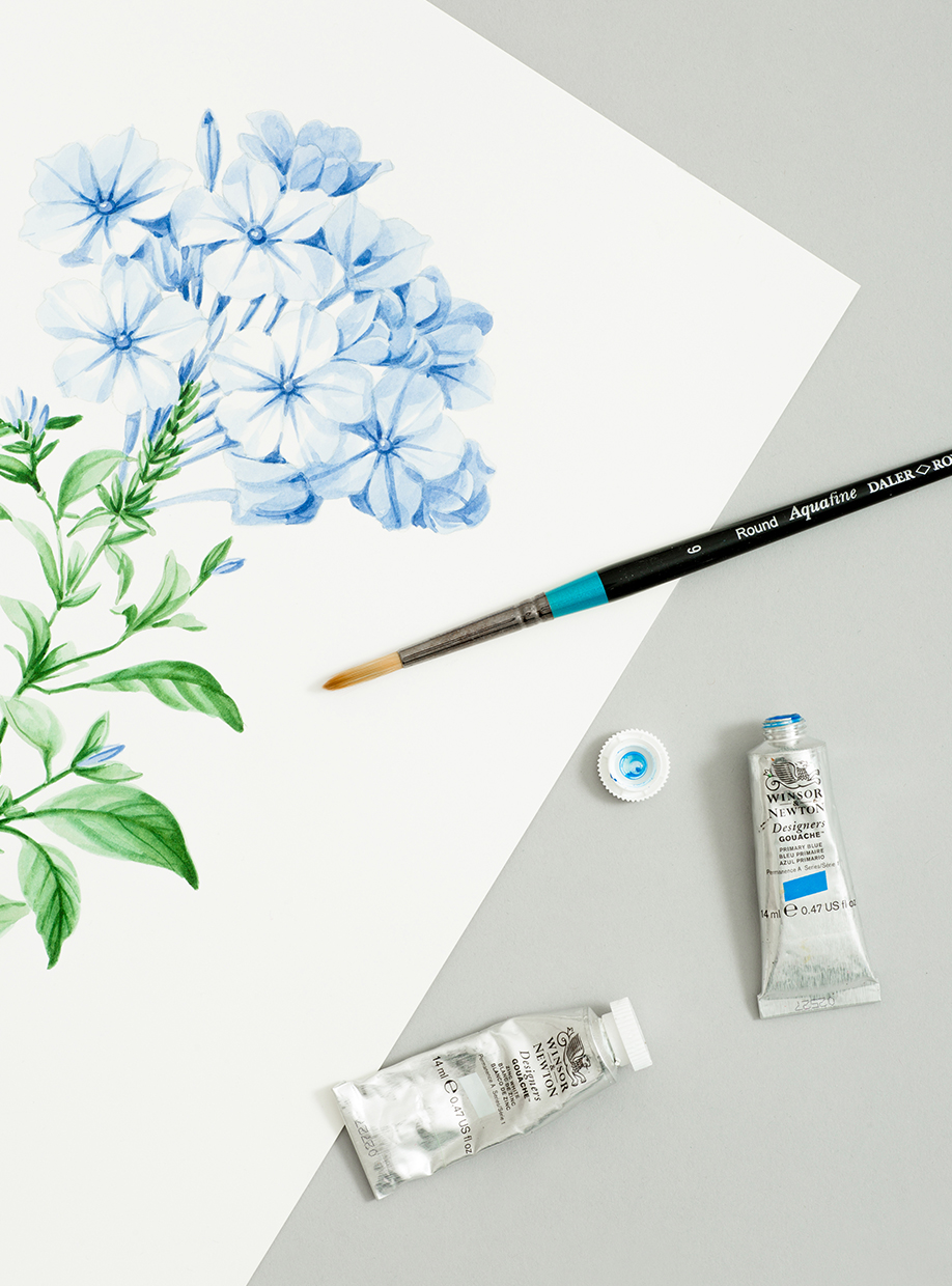 Still life image of a hand-painted floral design, paintbrush and paints.