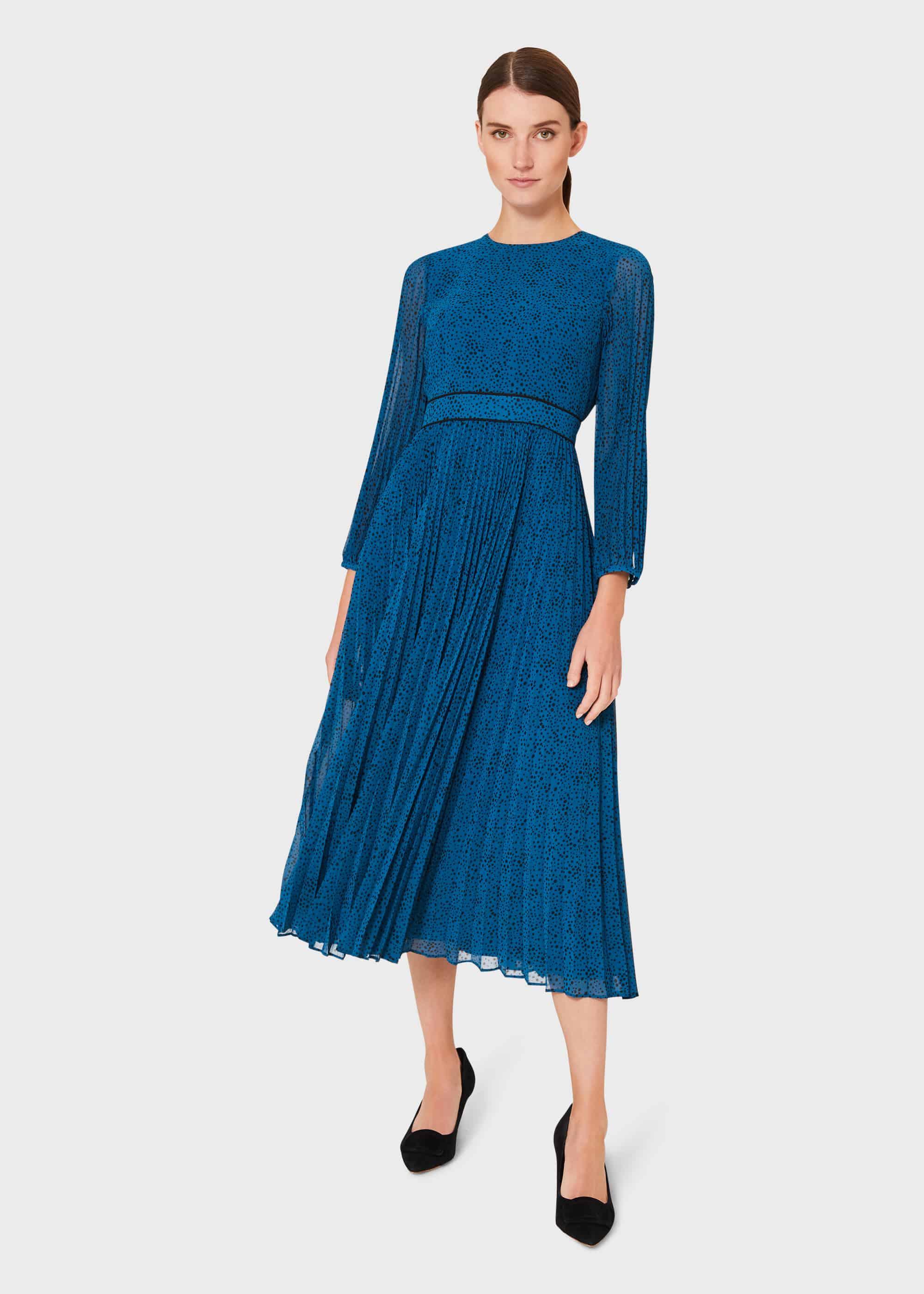 Hobbs Women Petite Isabella Spot Pleated Midi Dress