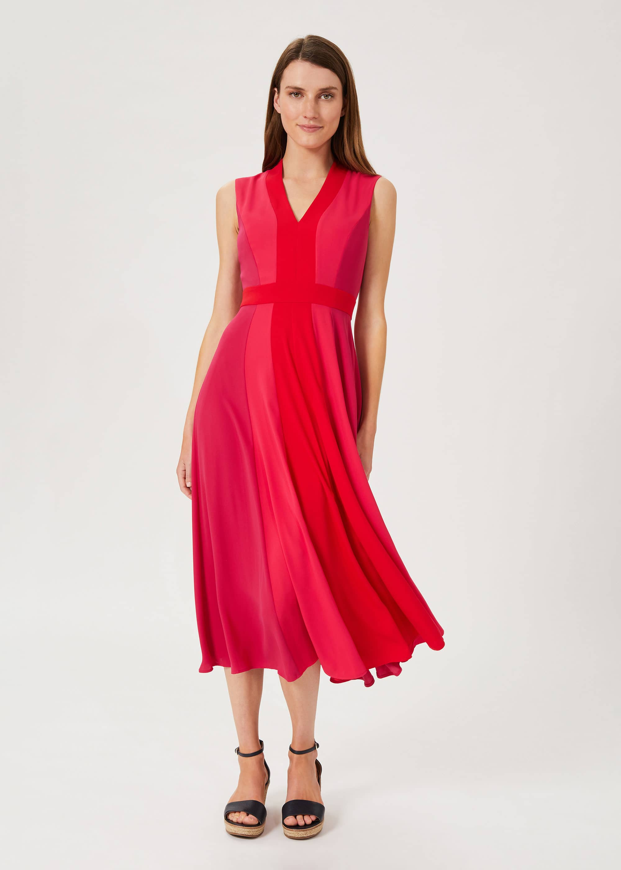 Hobbs Women Jilly Colourblock V Neck Dress