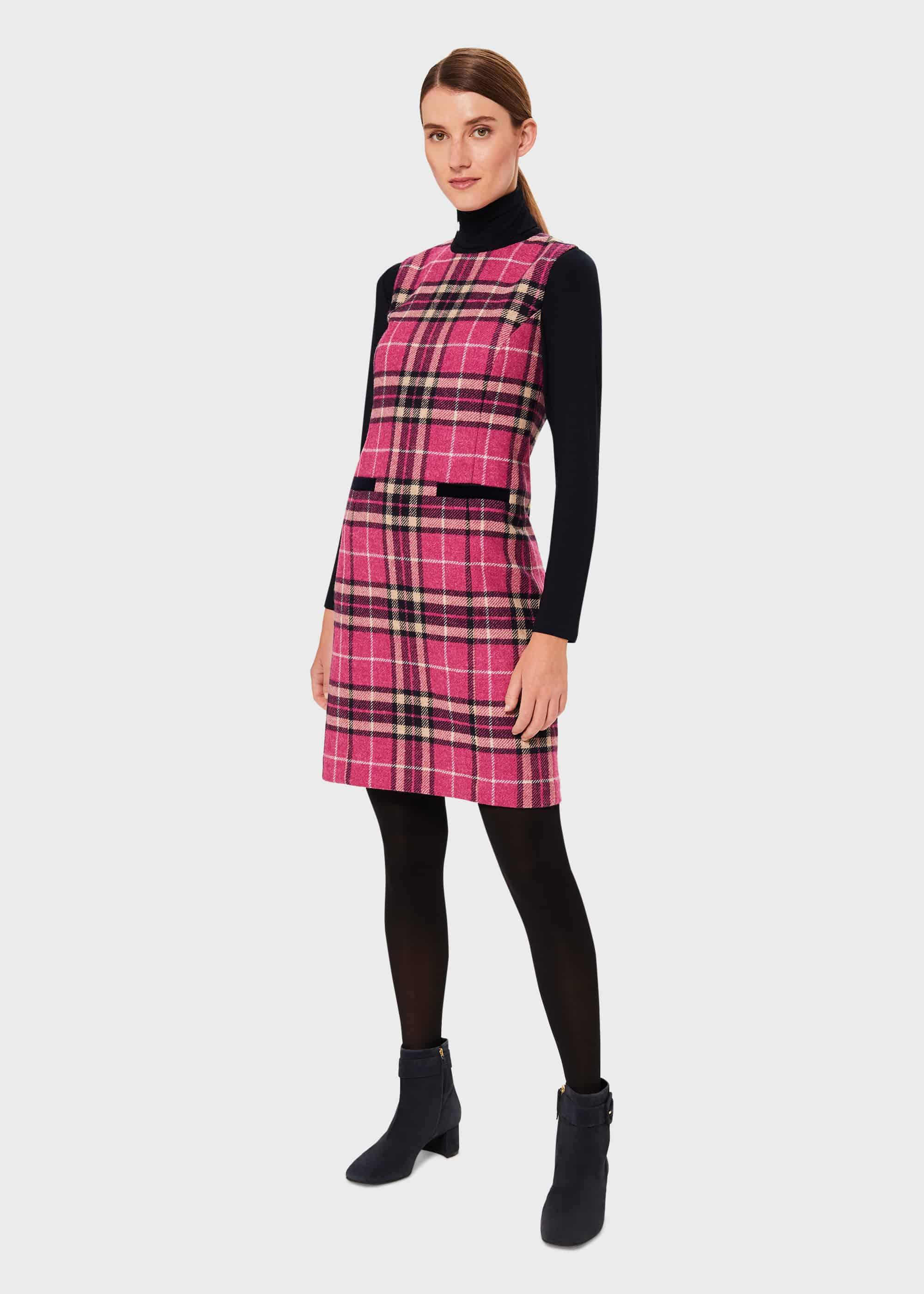 Hobbs Women Petite Margot Wool Check Shift Dress
