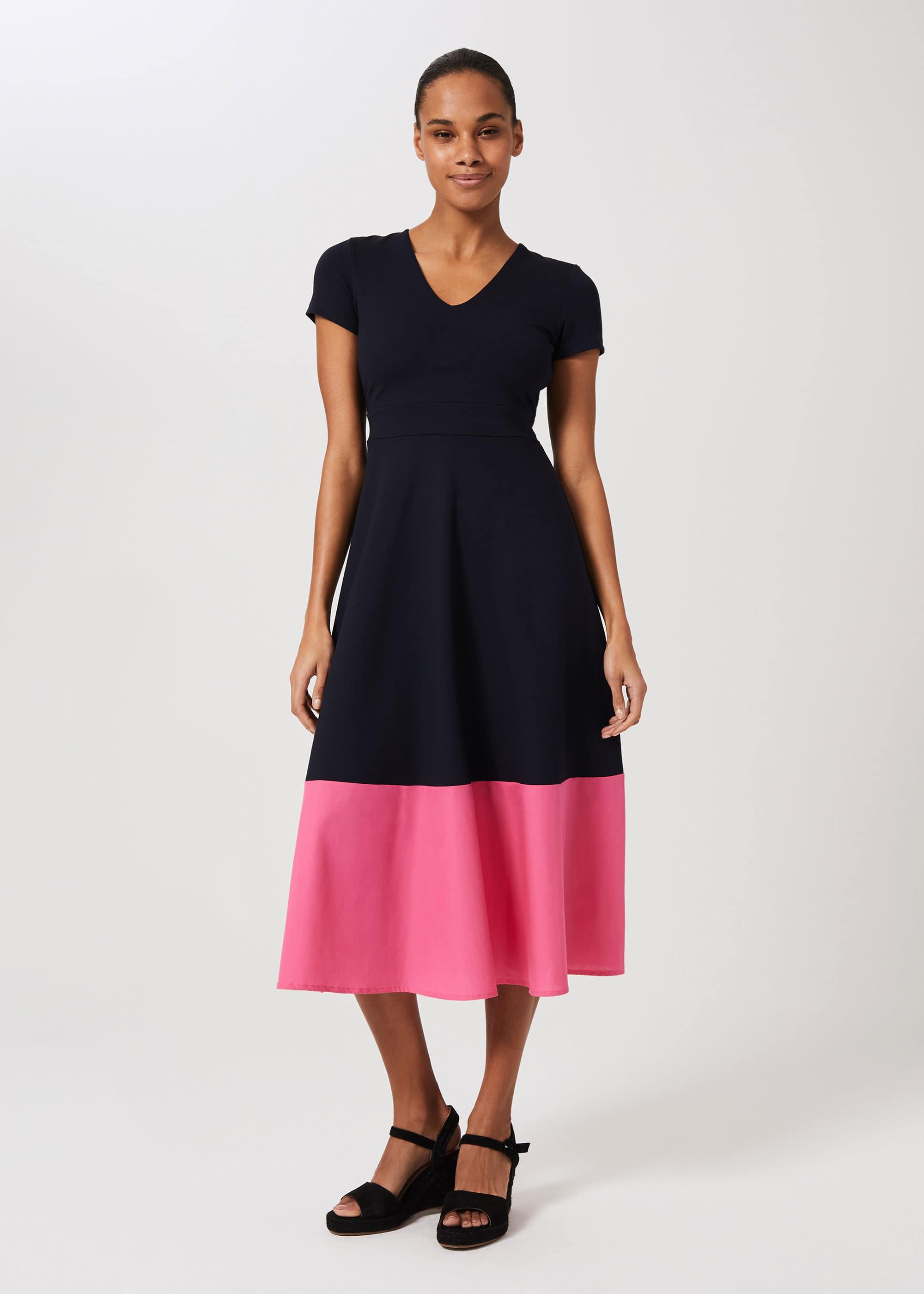 Hobbs Women Evangeline Jersey Colourblock Midi Dress