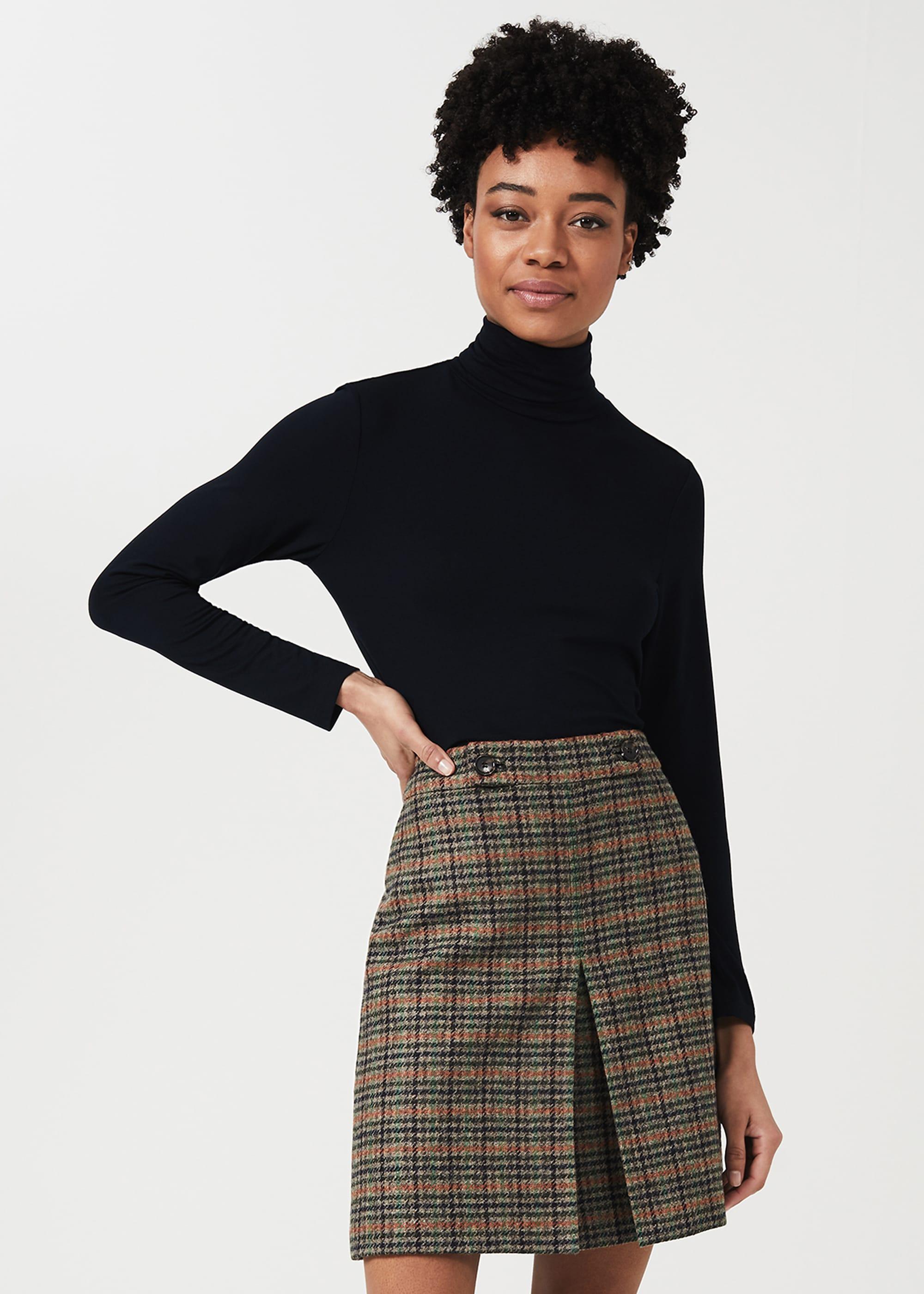 Hobbs Women Genevieve Wool Check A Line Skirt