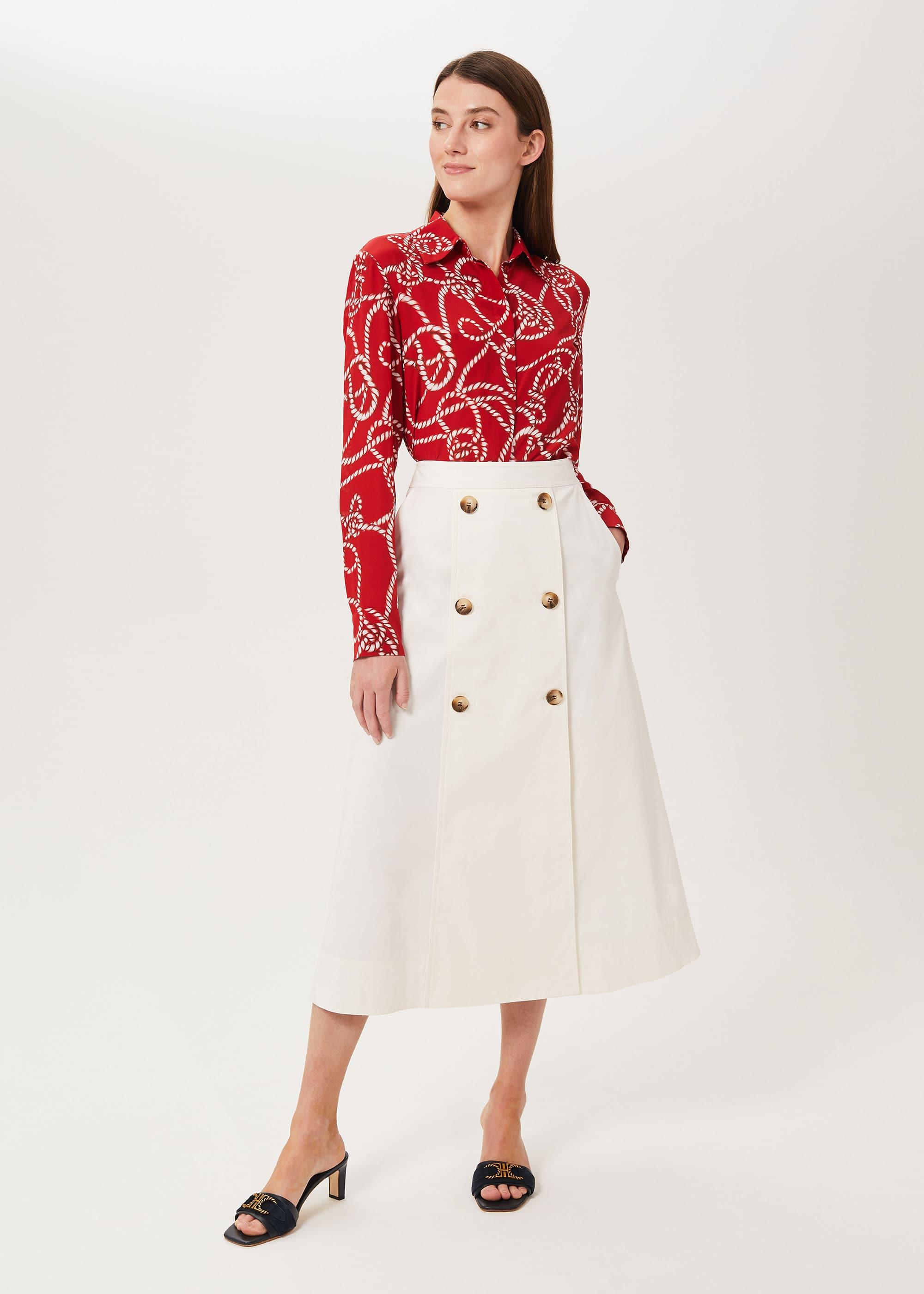Hobbs Women Venetia Cotton Midi Skirt