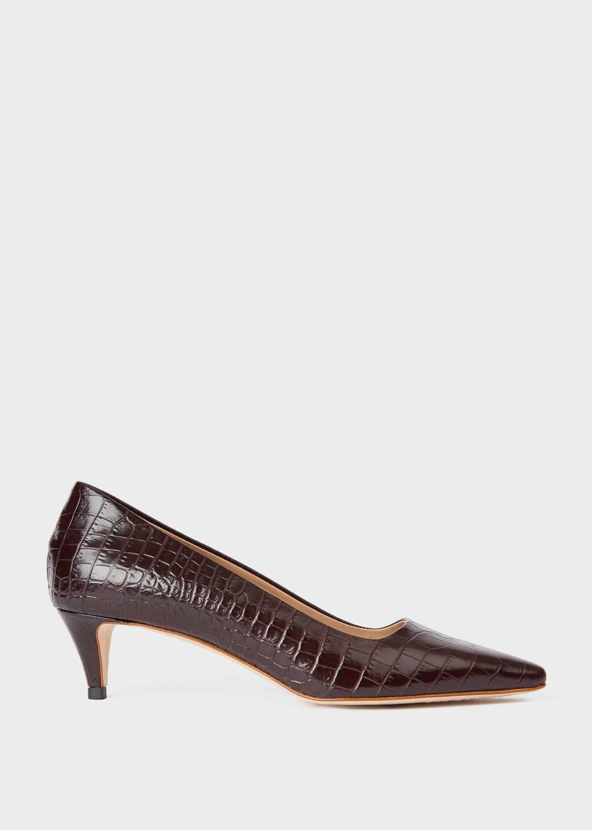 Hobbs Women Millie Crocodile Kitten Heel Court Shoes