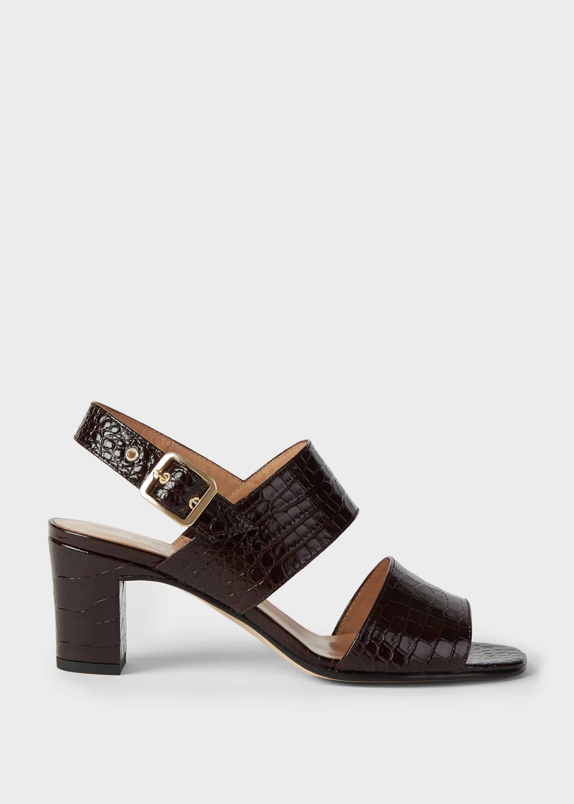 Hobbs Women Katrina Crocodile Block Heel Sandals
