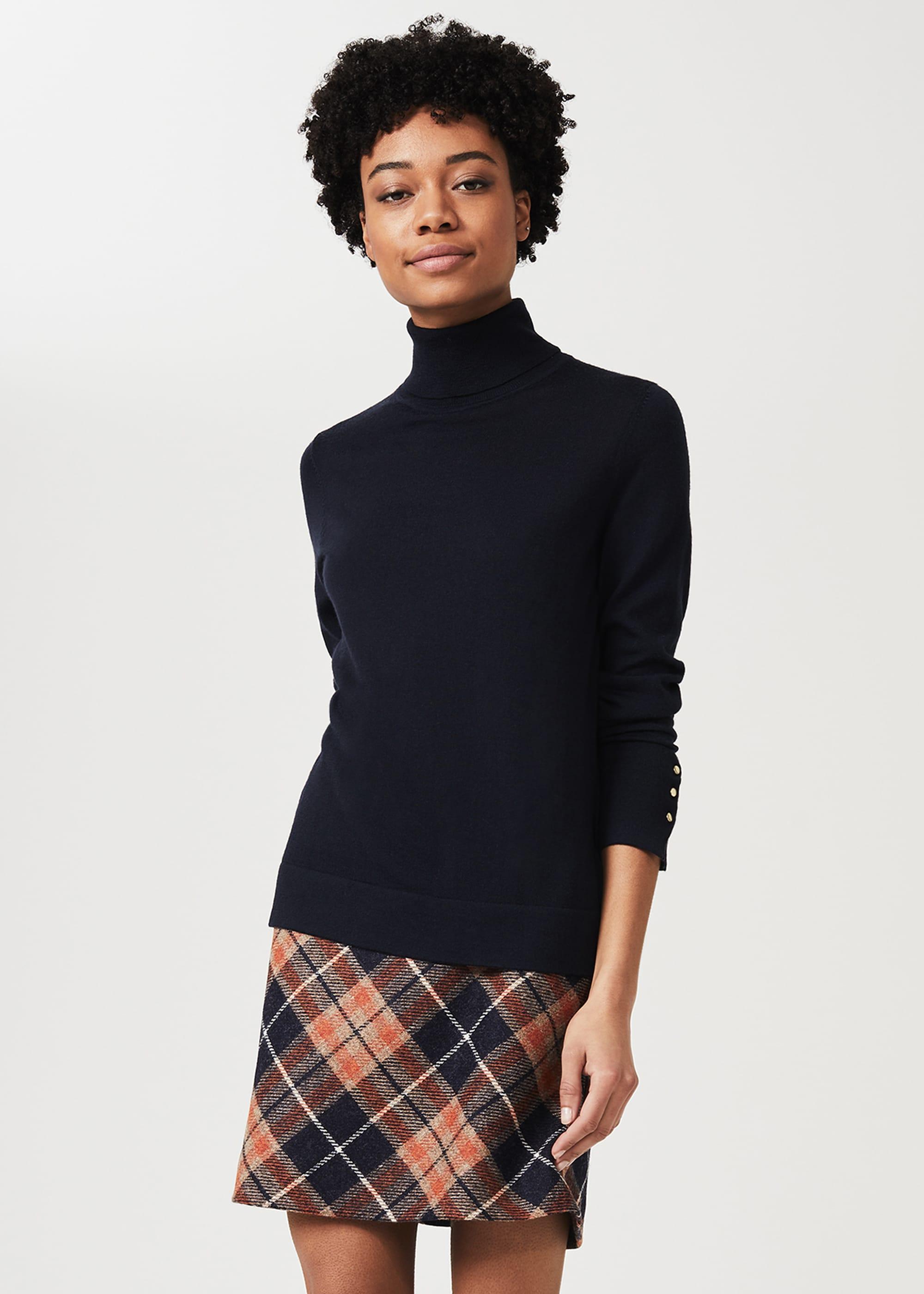 Hobbs Women Elea Wool Check A Line Skirt