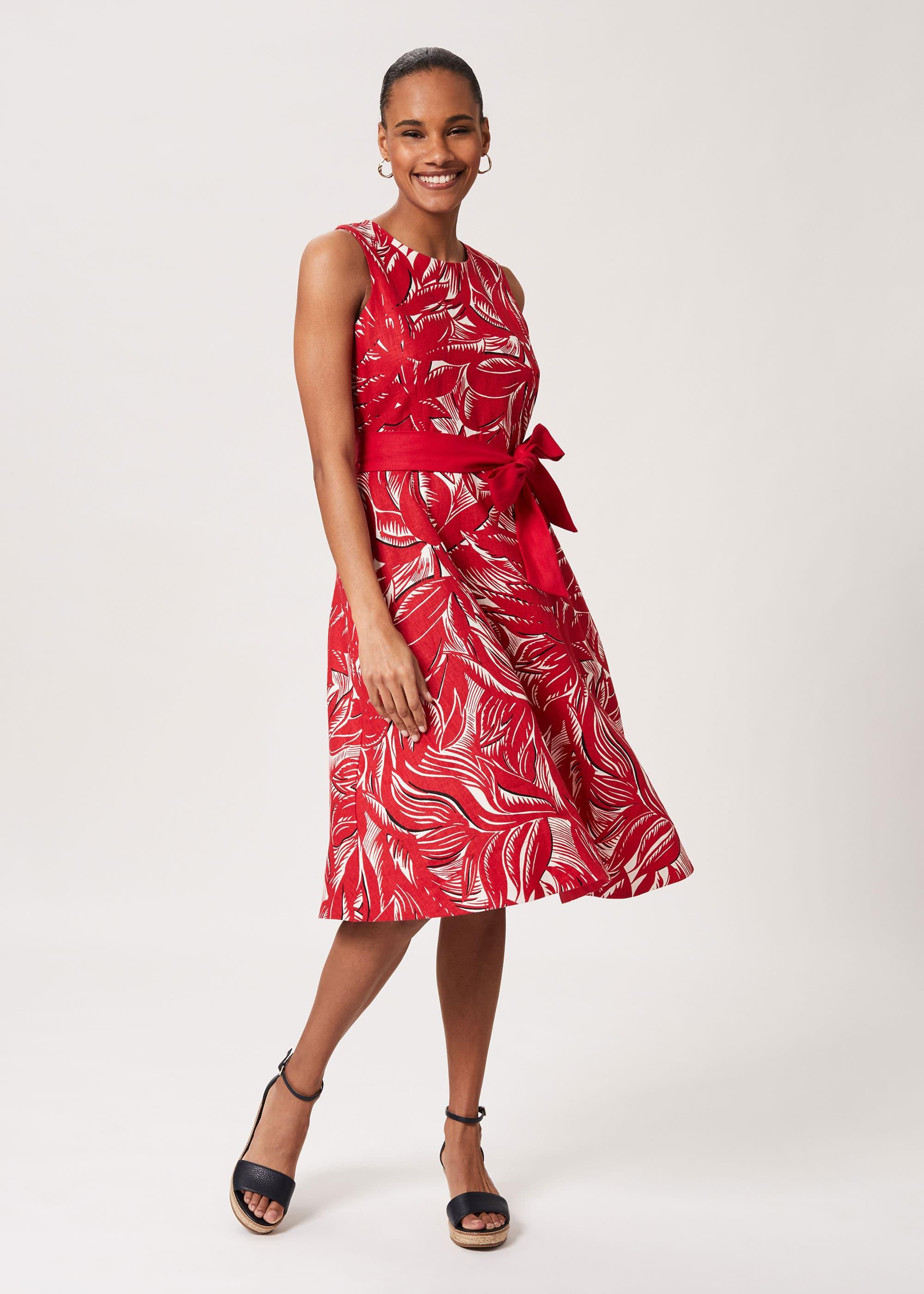 Hobbs Women Bea Linen Printed Dress