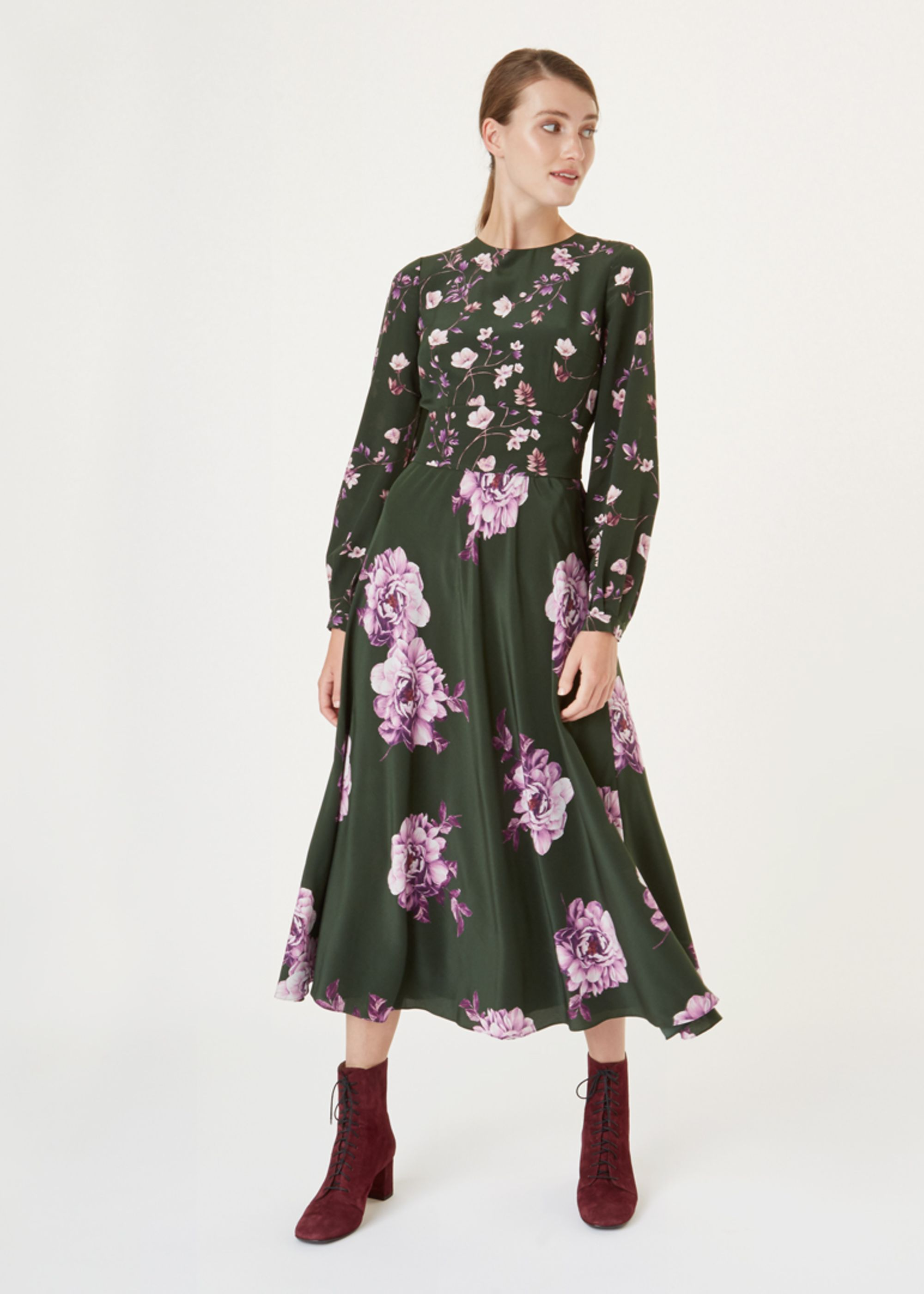 Hobbs Women Silk Winter Rose Dress